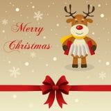 Rétro renne de carte de Joyeux Noël Photos stock