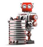 Rétro robot avec la base de données Concept de technologie Contient le chemin de coupure illustration de vecteur