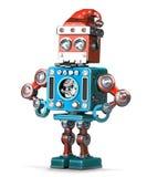 Rétro robot avec le chapeau et la barbe de Santa Contient le chemin de coupure illustration de vecteur
