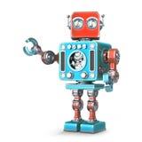 Rétro robot D'isolement Contient le chemin de coupure illustration de vecteur