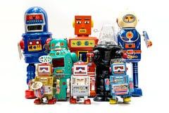 Rétro robot de jouet de bidon Photographie stock libre de droits