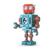 Rétro robot debout D'isolement Contient le chemin de coupure illustration stock
