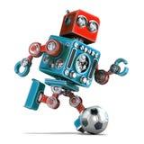 Rétro robot jouant le football D'isolement Contient le chemin de coupure illustration stock