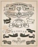 Rétro rouleau de vintage et ensemble de bannière Image stock