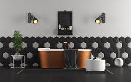 Rétro salle de bains noire et blanche illustration libre de droits