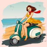 Rétro scooter d'équitation de femme Image stock