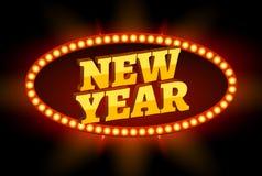 Rétro signe au néon de nouvelle année de panneau d'affichage Bannière de vacances de Noël rétro rougeoyant avec l'ampoule Photo stock