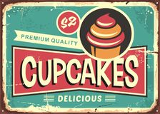 Rétro signe de petits gâteaux délicieux pour la boutique de sucrerie illustration libre de droits