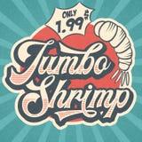 Rétro signe de restaurant de la publicité pour la crevette enorme Courrier de vintage illustration stock