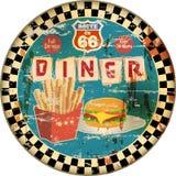 Rétro signe de wagon-restaurant de l'itinéraire 66 d'émail, Image libre de droits