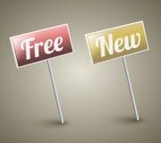 Rétro signe libre et signe neuf Photo libre de droits