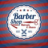 Rétro signe stylisé de vecteur pour Barber Shop dessus Image stock