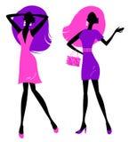 Rétro silhouette de filles d'isolement sur le blanc Image libre de droits