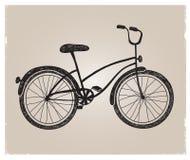 Rétro silhouette tirée par la main de bicyclette de vecteur Photos libres de droits