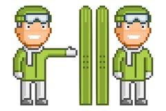 Rétro ski à 8 bits de pixel de vecteur pour la conception Photo libre de droits