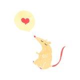 rétro souris de bande dessinée avec le coeur d'amour Photographie stock