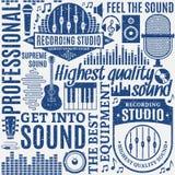 Rétro studio d'enregistrement typographique dénommé de vecteur et label de musique illustration de vecteur
