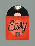 Rétro style d'affiche de l'écoute facile de musique Disque de vinyle dans la douille Illustration de vecteur Photos stock