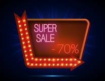 Rétro style d'enseigne superbe de vente avec le cadre léger Photo stock