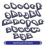Rétro style de manuscrit dactylographié, 3D police technique, SM contemporain de décalage Photographie stock libre de droits