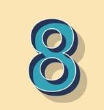 Rétro style des textes de vecteur de la lettre 8, concept de polices Images libres de droits