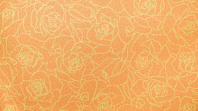 Rétro style orange de vintage de fond de tissu de Rose Lace Floral Seamless Pattern d'or Photographie stock
