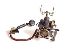 Rétro téléphone de cru d'isolement Photos libres de droits
