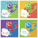 Rétro téléphone Illustration de couleur d'art de bruit de vecteur illustration libre de droits