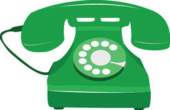 Rétro téléphone vert illustration libre de droits