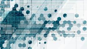 Rétro technologie d'hexagone vert abstrait et backgrou de l'information Image libre de droits