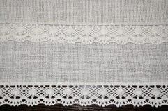Rétro textiloe antique de dentelle avec le fond romantique de texture de dentelle de ruban Image stock