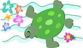 rétro tortue de natation de type illustration de vecteur