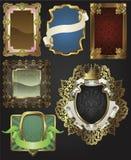 Rétro trames et étiquettes d'or de cru Photos stock