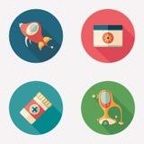 Rétro transport et icônes rondes plates de fournitures médicales Photo stock