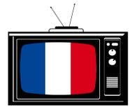 Rétro TV avec l'indicateur de la France Photos libres de droits