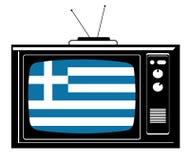 Rétro TV avec l'indicateur de la Grèce Photographie stock libre de droits