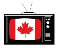 Rétro TV avec l'indicateur du Canada Image libre de droits
