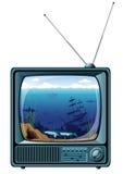 Rétro TV bleue avec la vue de mer illustration stock