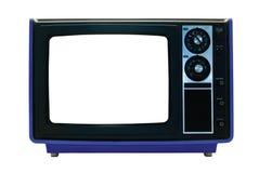 Rétro TV bleue d'isolement avec des chemins de découpage Images libres de droits