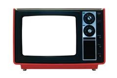 Rétro TV rouge d'isolement avec des chemins de découpage Image libre de droits