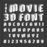 Rétro type police, typographie de vintage avec le style de film Photographie stock libre de droits