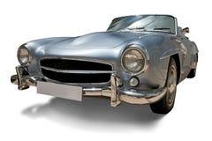 Rétro véhicule classique avec la plaque minéralogique blanc photographie stock libre de droits