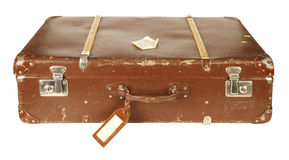 Rétro valise d'isolement sur le blanc Photo libre de droits