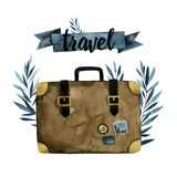Rétro valise de Brown pour le voyage, branches bleues images libres de droits