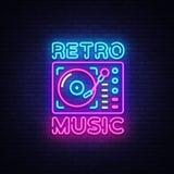 Rétro vecteur d'enseigne au néon de musique Rétro enseigne au néon de calibre de conception de musique, rétro style 80-90s, banni illustration libre de droits