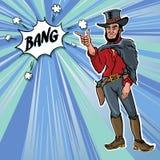 Rétro vecteur de Bang de cowboy d'hommes de clipart (images graphiques) de vintage Photo stock