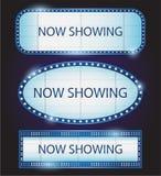 Rétro vecteur de cinéma de théâtre de signe de Showtime Photographie stock