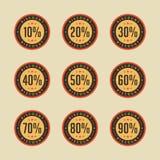Rétro vecteur de promotion des ventes de vente d'insigne de remise Image stock