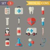 Rétro vecteur médical plat d'icônes et d'ensemble de symboles Images stock