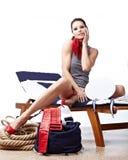 Rétro verticale de belle femme Image stock